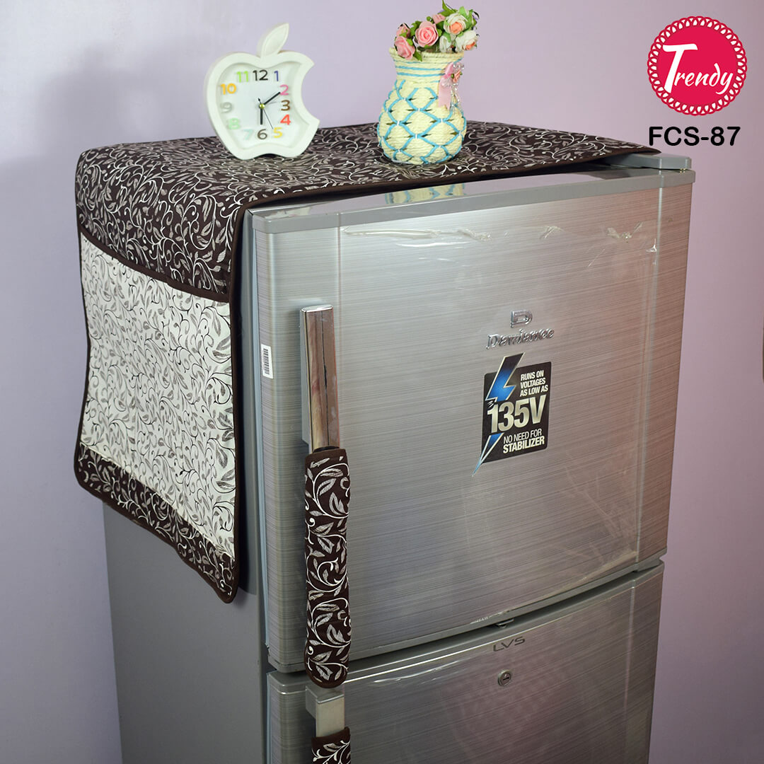 Fridge Cover With Handle Cover Brown All Over Print Trendy Pakistan