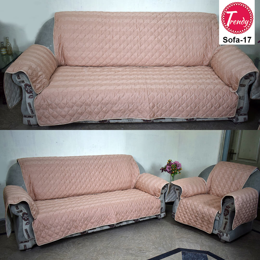 Peach Color Quilted Sofa Cover Set With Diamond Quilting Trendy
