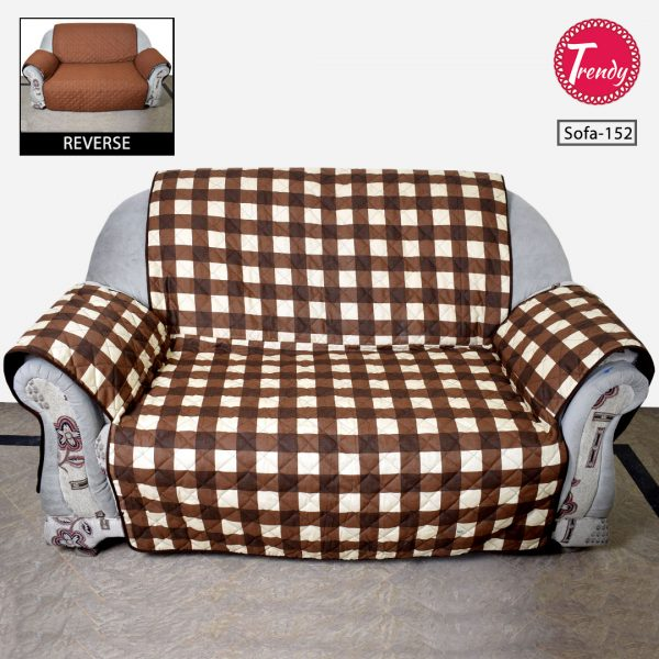 Sofa Cover Quilted Brown Check