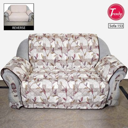 Sofa Cover Quilted Brown Flower