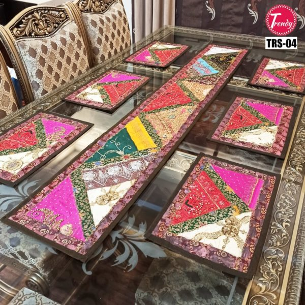 Sindhi Hand Embroidery Runner And Place Mat Set TRS-04